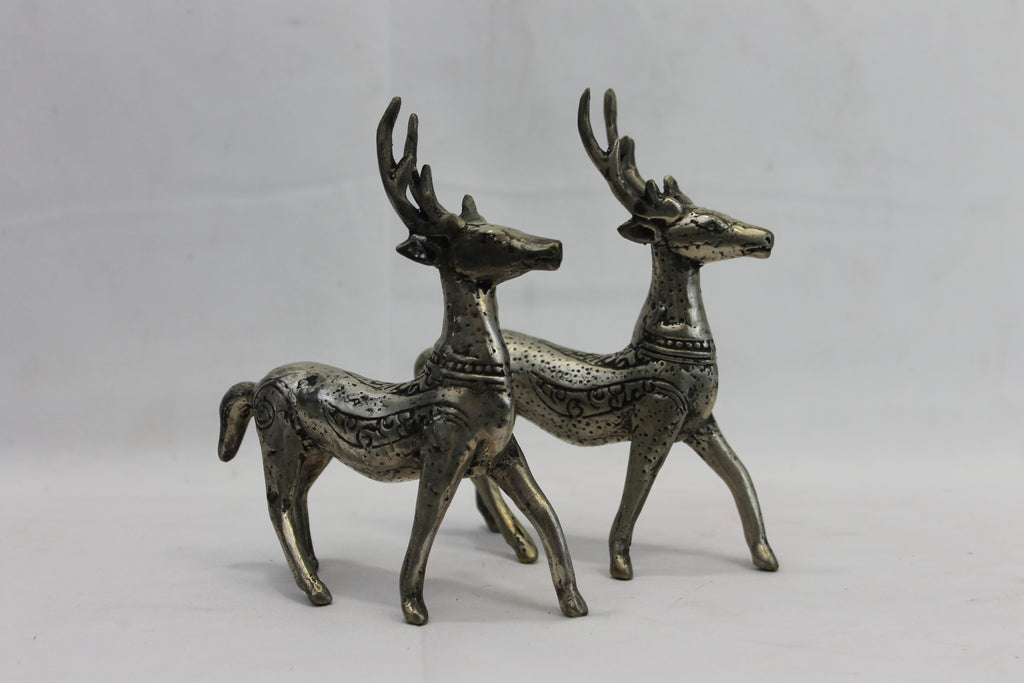Rustic Deer statue set Bronze lost wax cast Indonesian Bali Art - Acadia World Traders