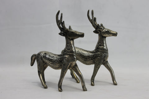 Rustic Deer statue set Bronze lost wax cast Indonesian Bali Art