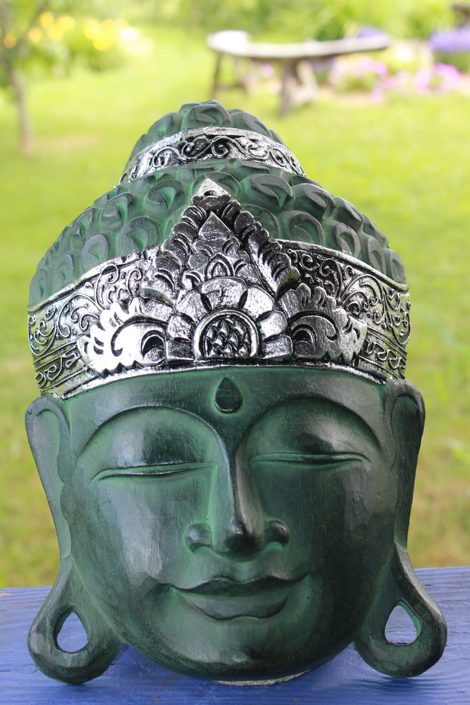Bali Buddha Mask Verdigris Green & Silver Hand Carved Wood - Acadia World Traders