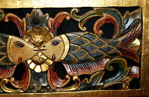 Balinese Twin Fish Architectural Panel Hand Carved Wood - Acadia World Traders