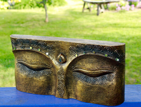 Wise Eyes of Buddha Hand Carved Wall Art Sculpture - Acadia World Traders