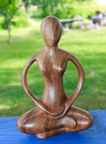 Meditating Yoga Goddess Padmasana Yogi Yogini Statue Wood carving - Acadia World Traders