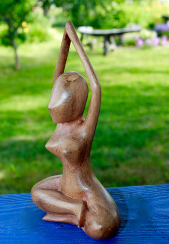 Meditating Yoga Goddess Upward Bound  Asana Yogini Buddha statue Wood - Acadia World Traders