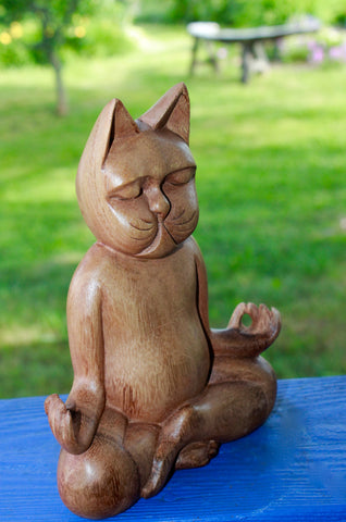 "Meditating Yoga Cat Lotus Pose Statue Wood Carving Feline Balinese Art 8"" - Acadia World Traders"