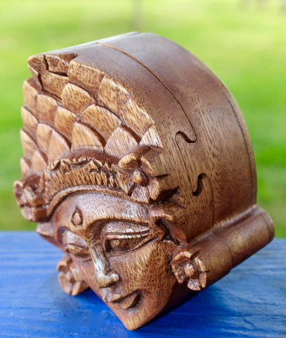 Balinese Dewi Sri Goddess secret puzzle Box Stash Trinket carved suar wood - Acadia World Traders