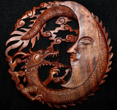 Dragon & Crescent Moon Hand Carved Balinese Wood Wall Art Panel - Acadia World Traders