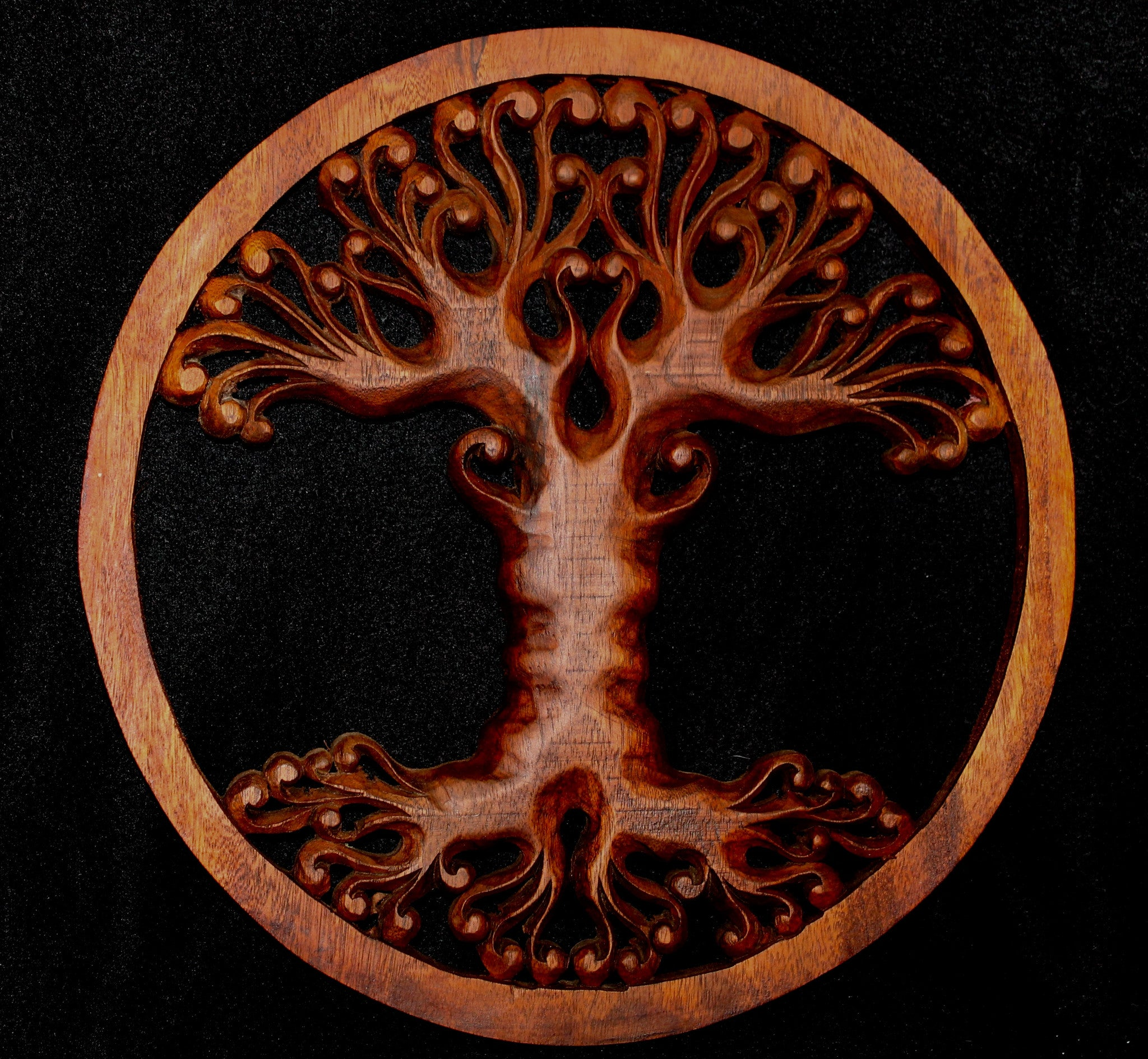 Tree Of Life Hand Carved Wood Wall Art Panel