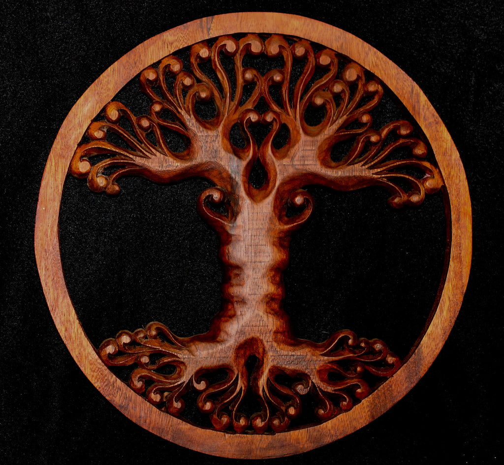 Tree of Life Hand Carved Wood Wall Art Panel - Acadia World Traders