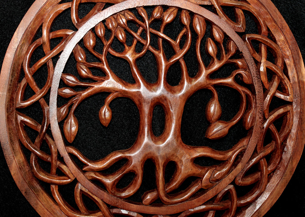 Celtic Knot Tree of Life Hand Carved Wood Wall Art Panel