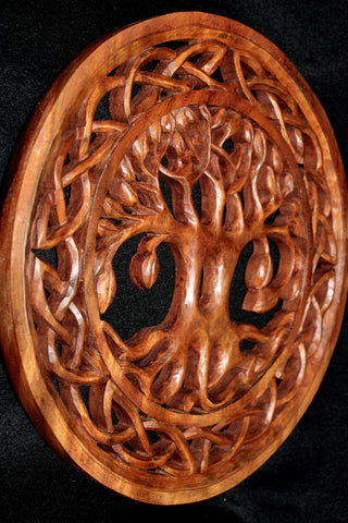 Celtic Knot Tree of Life Hand Carved Wood Wall Art Panel - Acadia World Traders