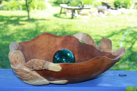 Nautical Twin Sea Turtle Fruit Bowl Hand Carved Suar Wood - Acadia World Traders