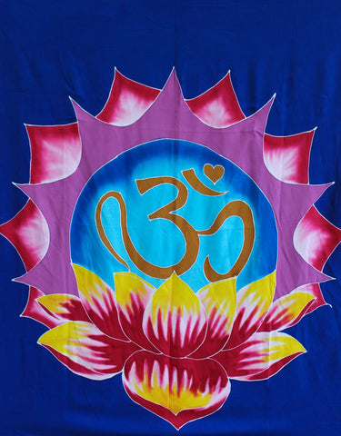Balinese Batik Garden Flag OM Lotus Mandala Banner Yoga Meditation Wall Decor - Acadia World Traders
