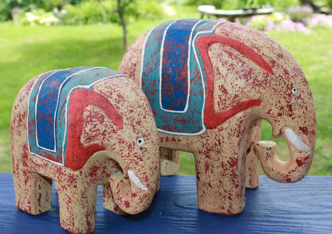 Colorful Chunky Folk Art Elephants Mama & Baby Wood Carving set - Acadia World Traders