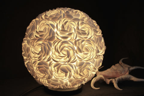 Rose Sea Shell Seashell Globe Table Lamp