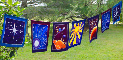 Celestial Sun Moon Star Planet Prayer Flag String Bali Batik Art - Acadia World Traders