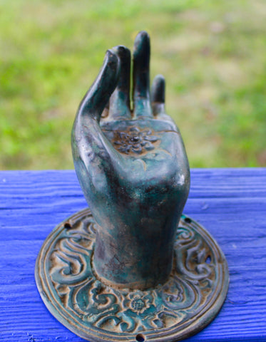 Buddha Hand Mudra Door Handle Knob Cast Green  Bronze Bali Art Left - Acadia World Traders