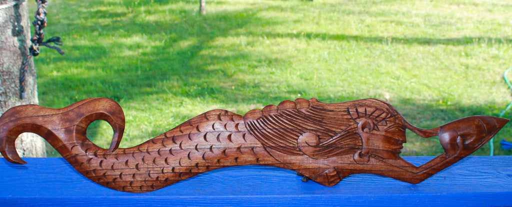 Beach Cottage Mermaid Hand Carved Wood Wall Art Panel - Acadia World Traders