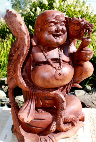 "Lucky Fat Buddha Statue Traveling Good Fortune Hotei Wood Carving Bali art 16"" - Acadia World Traders"