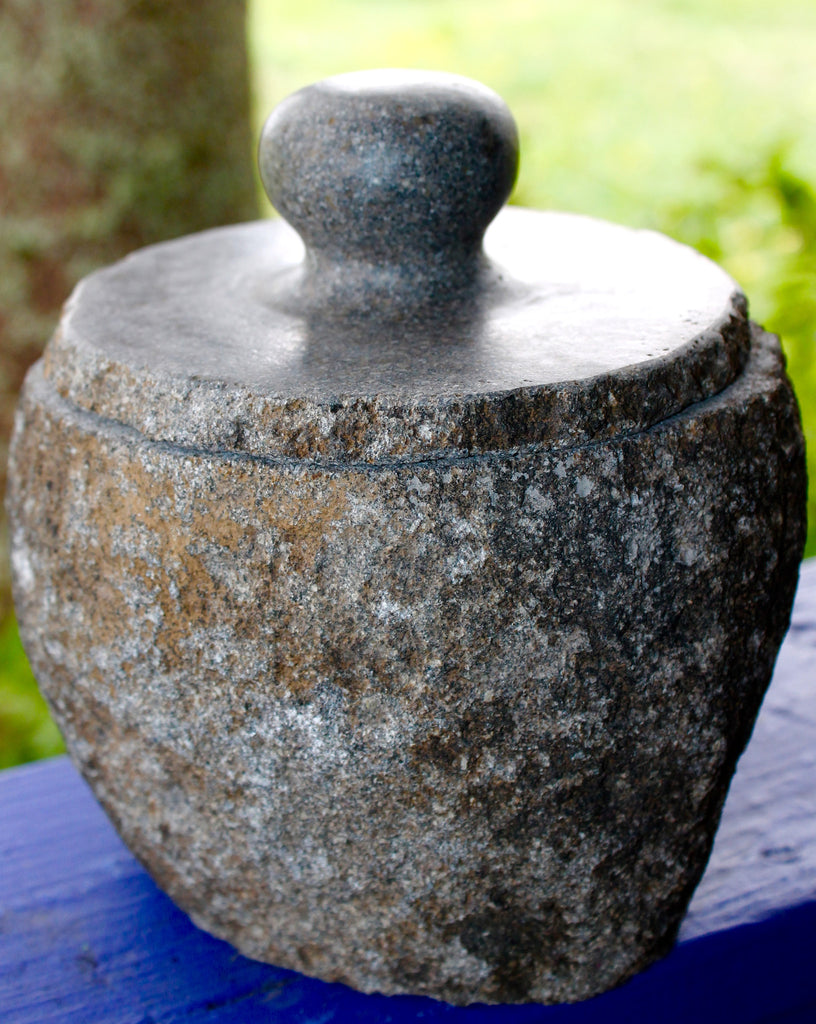 Hand Carved Balinese Natural River Stone Jar - Acadia World Traders