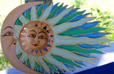 Wind blown SUN & Moon Sunburst Celestial Mosaic Wall plaque