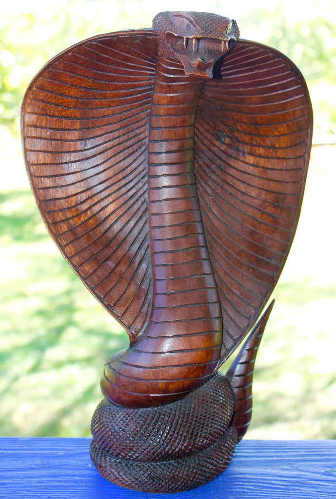"Hooded Cobra Snake Wood carving 16"" - Acadia World Traders"
