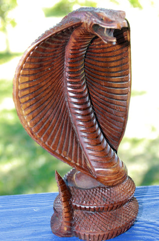 "Hooded Cobra Snake Wood carving 8"" - Acadia World Traders"