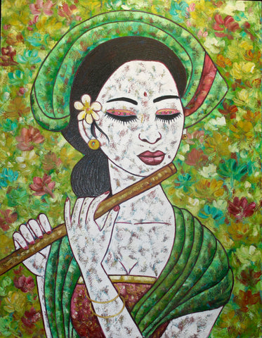 Balinese Women Playing Flute Painting Acrylic on Canvas
