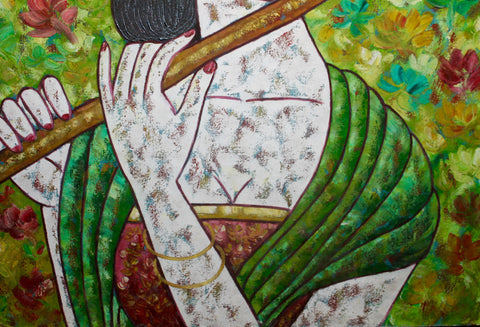 Balinese Women Playing Flute Painting Acrylic on Canvas - Acadia World Traders