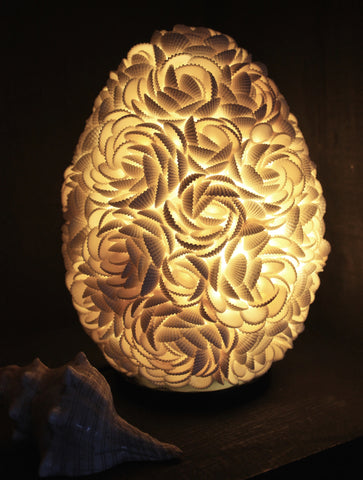 Oval Rose Sea Shell Globe Table Lamp - Acadia World Traders