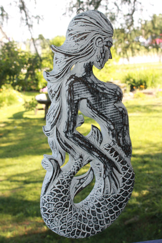 White Wash Mermaid Relief Panel Hand Carved Wood Nautical Art - Acadia World Traders
