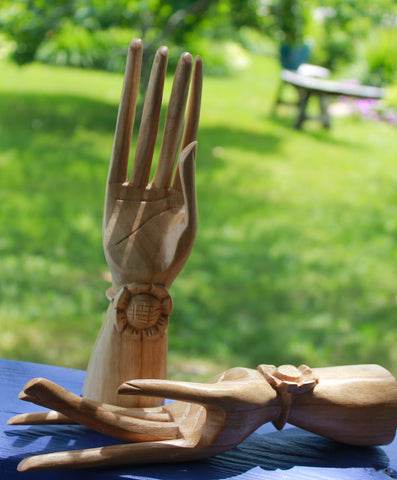 Balinese Buddha Mudra Hands Sculpture Lotus statue wood carving Bali Art set 2 - Acadia World Traders