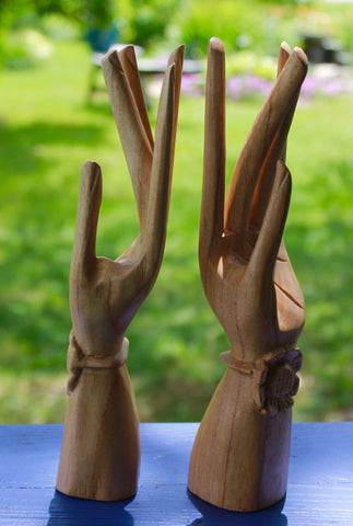 Balinese Buddha Mudra Hands Sculpture Lotus statue wood carving Bali Art set 2