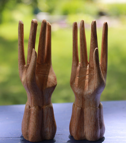Buddha Mudra Hands Carved Wood
