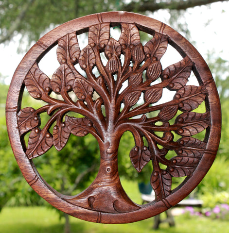Tree of life Wall Art Plaque Panel Hand Carved wood