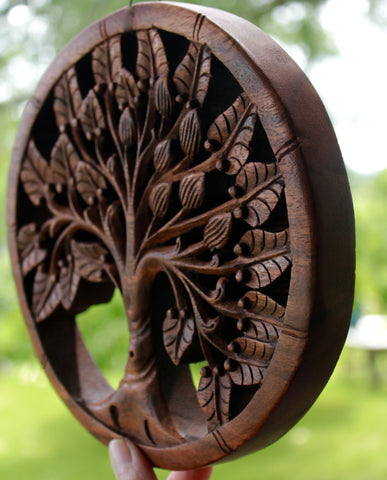 Tree of life Wall Art Plaque Panel Hand Carved wood - Acadia World Traders