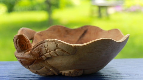 Nautical Sea Turtle Fruit Bowl Hand Carved Suar Wood - Acadia World Traders