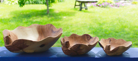 Nautical Sea Turtle Fruit Bowl Hand Carved Suar Wood
