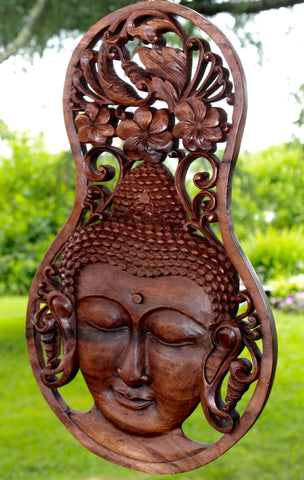 Peaceful Buddha Meditating Wall Plaque Panel Carved Wood Balinese art - Acadia World Traders