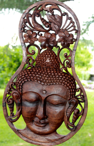 Peaceful Buddha Meditating Wall Plaque Panel Carved Wood Balinese art