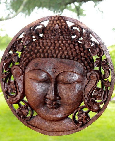 Peaceful Buddha Meditating Round Panel Carved Wood Balinese Wall art