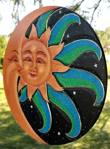 Balinese Sun & Moon in Love Sunburst Celestial plaque Wall Art - Acadia World Traders
