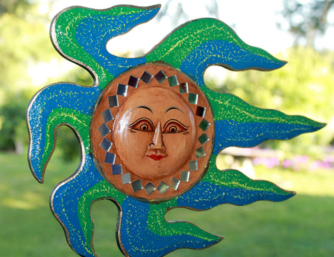 Blowing SUN sunburst Mosaic plaque Wall Decor Art Handmade in Bali - Acadia World Traders