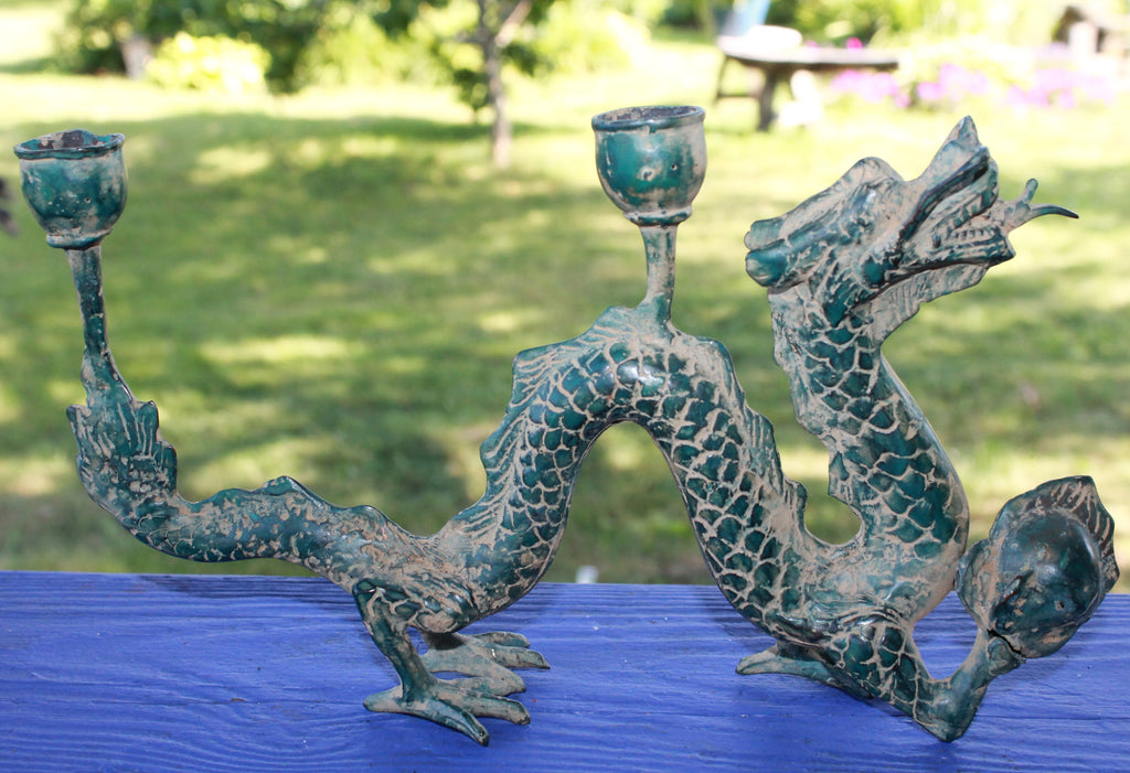 Cosmic Dragon Naga w/ Pearl Bronze Candelabra Statue Candleholder Indonesian Art - Acadia World Traders