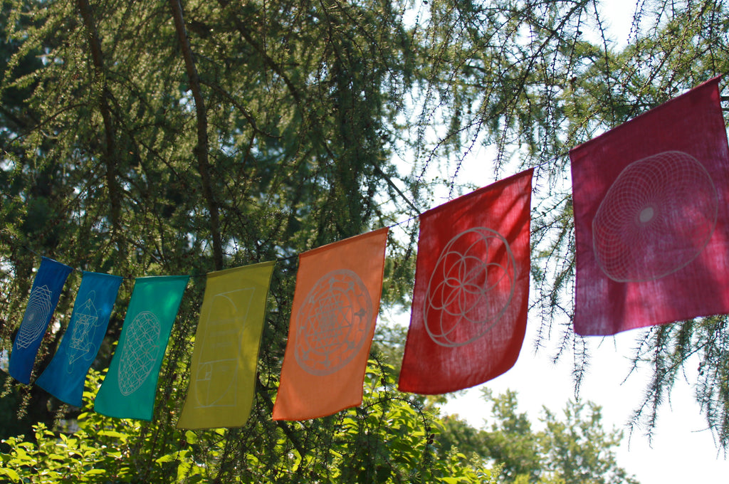 Sacred Geometry Rainbow Prayer Flag Banner Boho Garden Art - Acadia World Traders