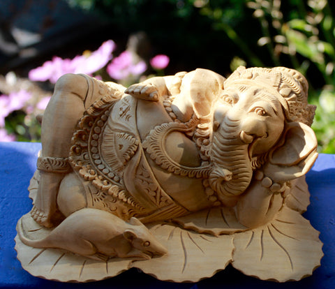 Balinese Reclining Ganesh with Vahana Mouse Wise Elephant God Wood Carving - Acadia World Traders
