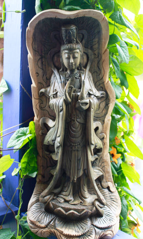 Kwan Yin Bodhisattva Of Mercy Balinese Hand Carved Wood Statue - Acadia World Traders