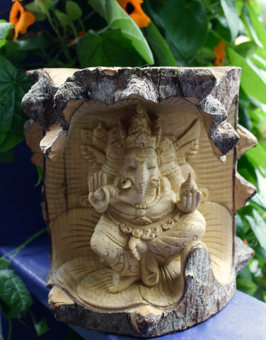 Balinese Ganesha Remover of Obstacles Statue hand carved crocodile wood - Acadia World Traders