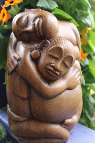 Embracing Lovers abstract Sculpture Hand Carved wood Balinese art