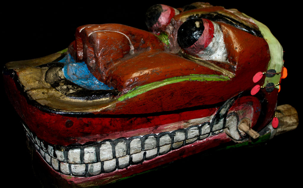 Old Javanese Barong Lion Mask Polychrome Carved Wood Indonesian - Acadia World Traders