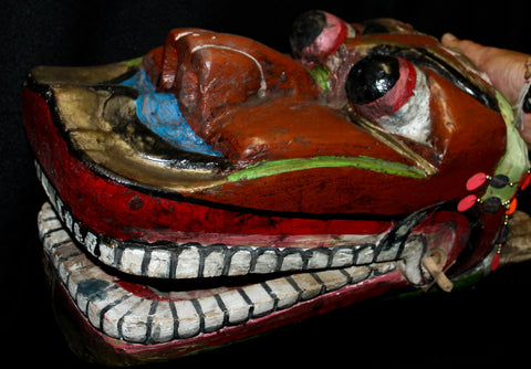 Old Javanese Barong Lion Mask Polychrome Carved Wood Indonesian folk art